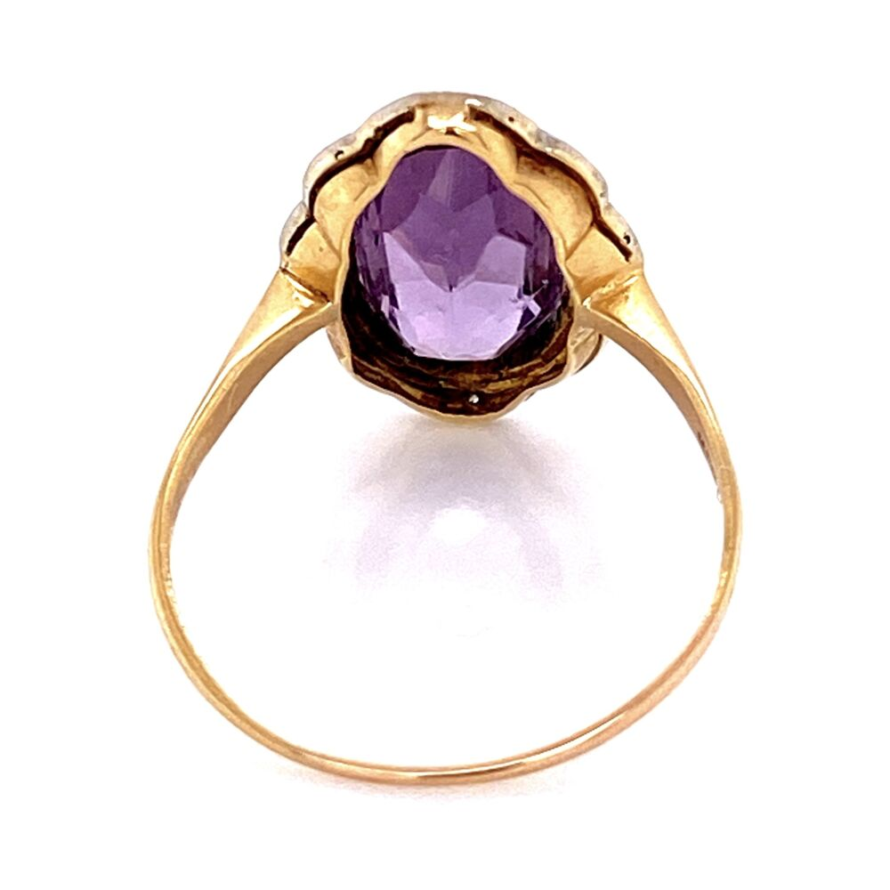 18K YG Edwardian 4ct Amethyst & .03tcw Diamond Ring, s8