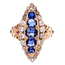 Closeup photo of 14K YG Victorian Navette Ring, 1tcw Sapphire & 1tcw Diamonds, s6