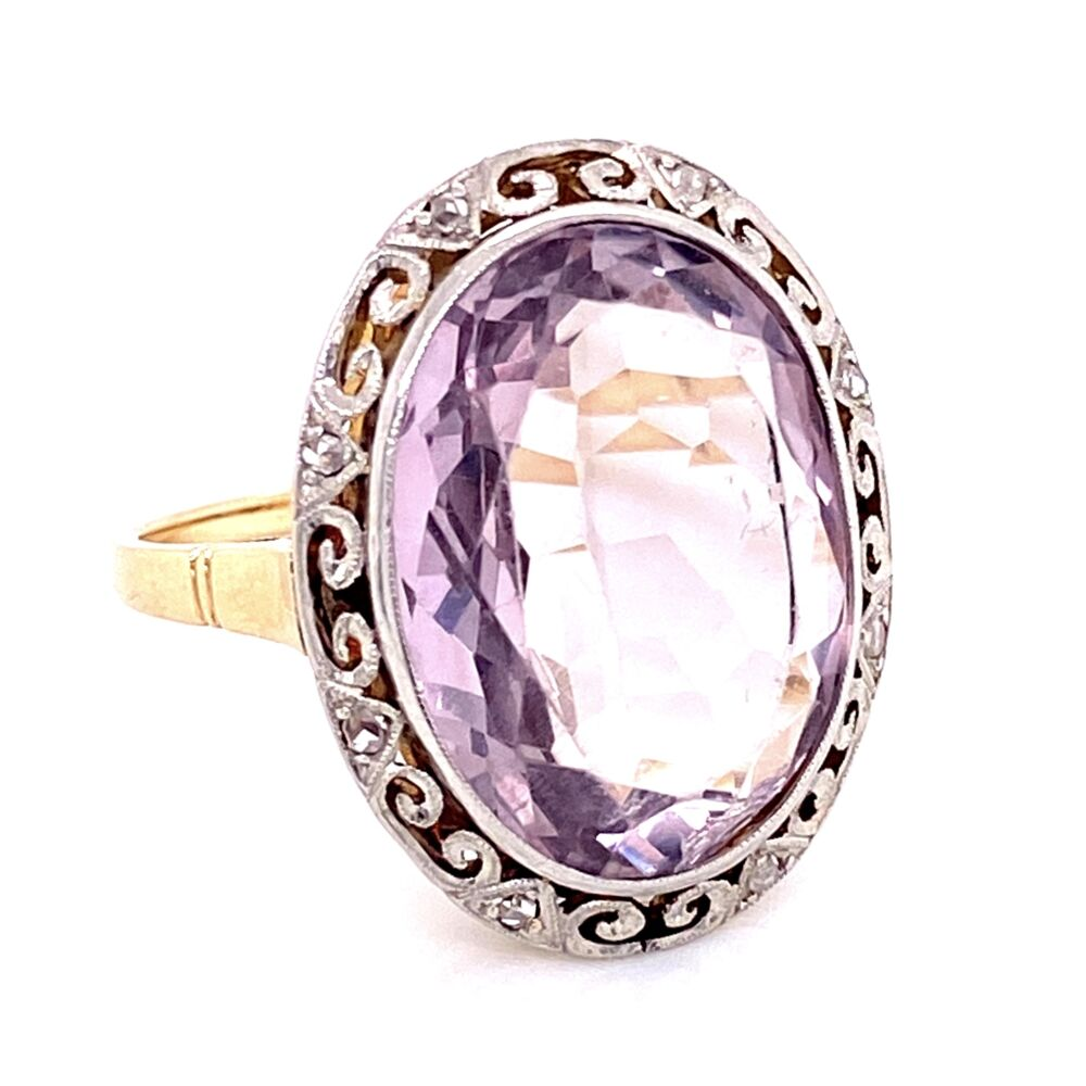 18K 2tone 12ct Oval Amethyst & .12tcw Diamond Ring, s6