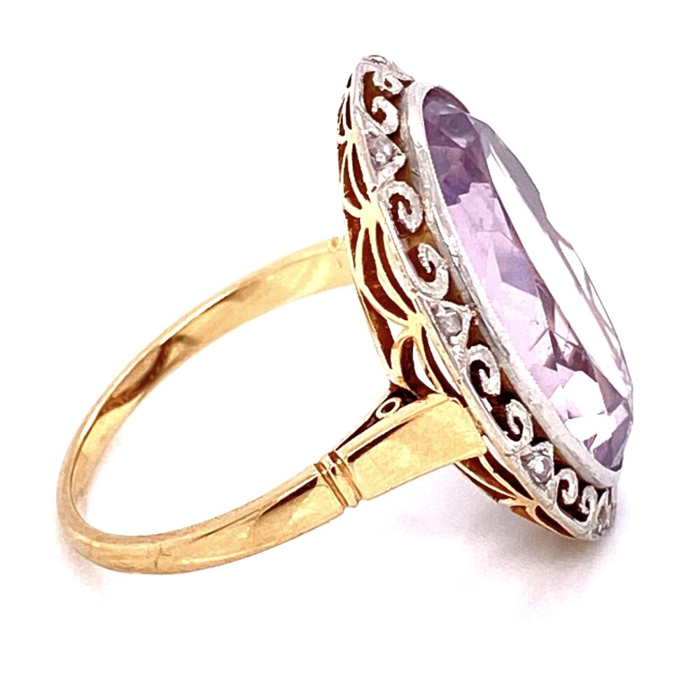 Image 2 for 18K 2tone 12ct Oval Amethyst & .12tcw Diamond Ring, s6