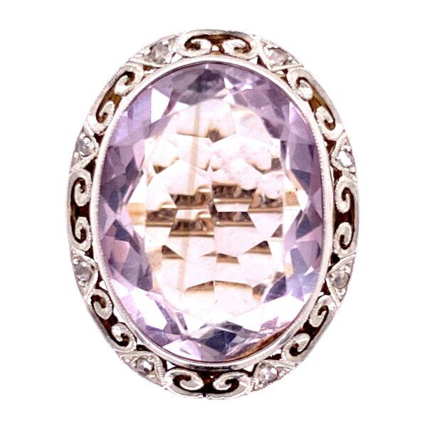 Closeup photo of 18K 2tone 12ct Oval Amethyst & .12tcw Diamond Ring, s6