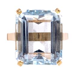Closeup photo of 18K YG 12ct Aquamarine Solitaire Ring, s4.5