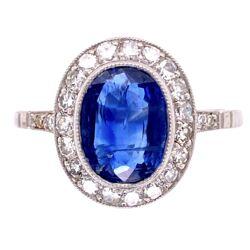 Closeup photo of Platinum 1.90ct Oval Sapphire & .68tcw Diamond Ring, s7