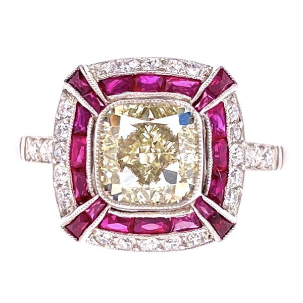 Closeup photo of Platinum 2.01ct Radiant Diamond Ring, .87tcw Ruby & .20tcw Diamonds, s7
