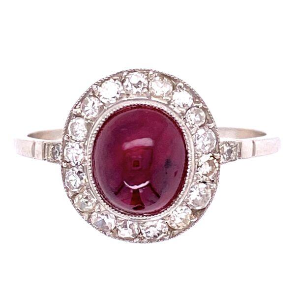 Closeup photo of Platinum 2.40ct Sugarloaf Ruby & .36tcw Diamond Ring, s6.5