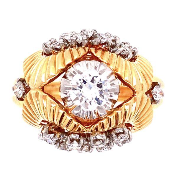 Closeup photo of 18K YG Retro 1.40tcw Diamond Dome Ring, s7.5