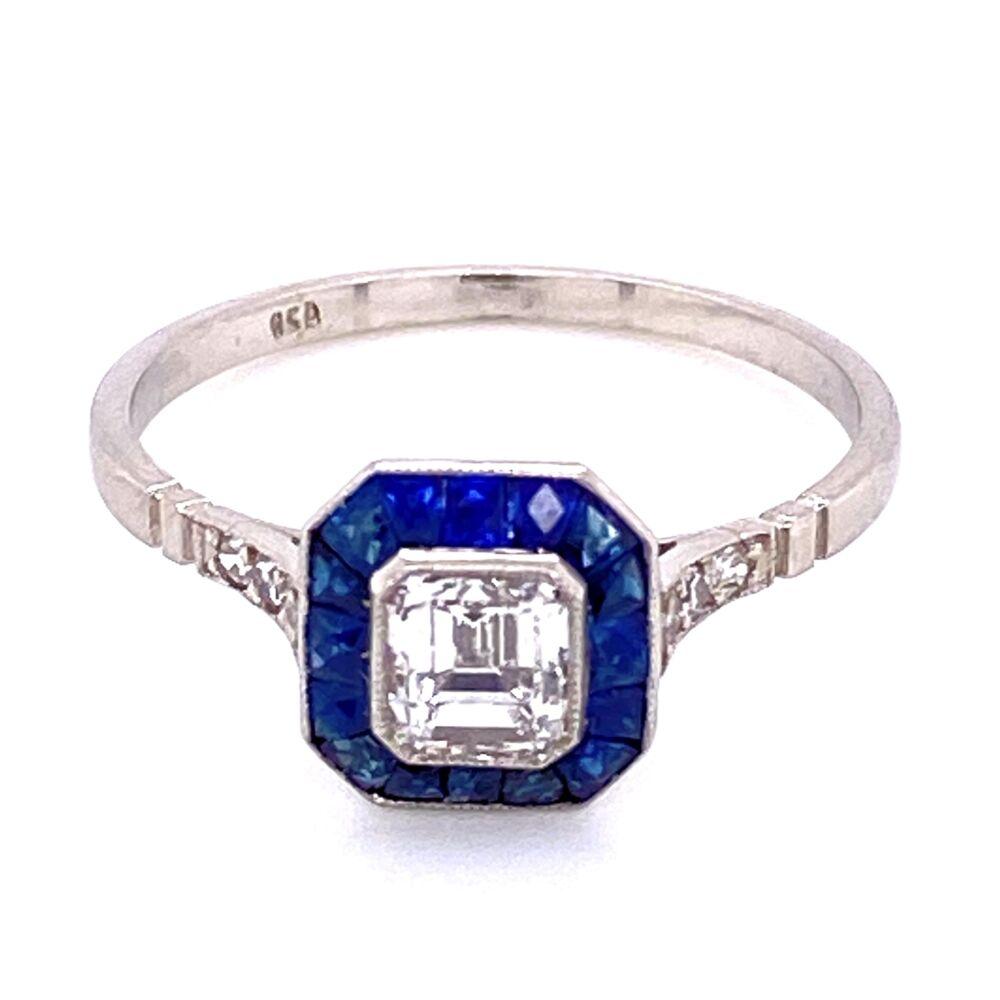 Platinum .60ct Asscher Diamond & .84tcw Sapphire Halo Ring, s7.5