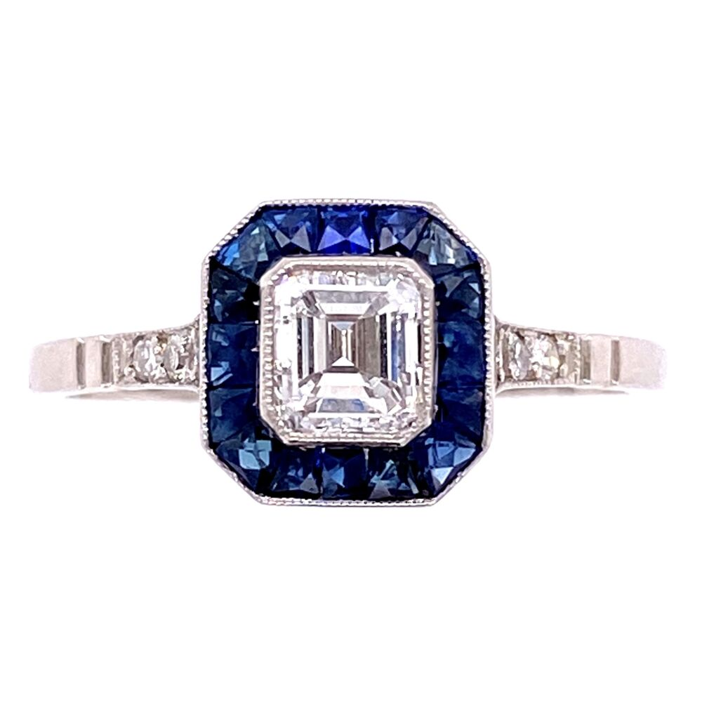 Image 2 for Platinum .60ct Asscher Diamond & .84tcw Sapphire Halo Ring, s7.5