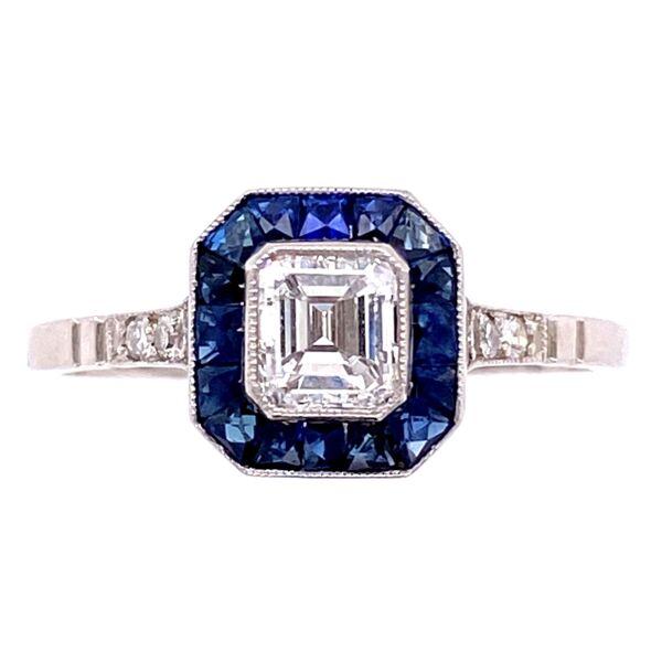 Closeup photo of Platinum .60ct Asscher Diamond & .84tcw Sapphire Halo Ring, s7.5