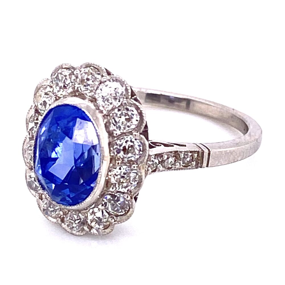 Image 2 for Platinum 3.65ct Oval Sapphire & 1.36tcw Ring, s7