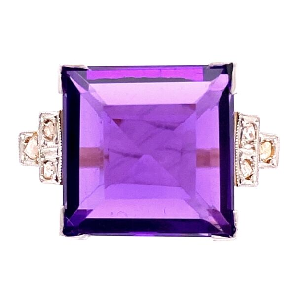 Closeup photo of 18K YG Edwardian 7ct Square Amethyst & .18tcw Diamond Ring, s7.5