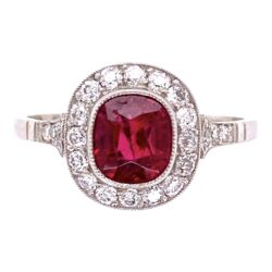 Closeup photo of Platinum 1.45ct Cushion Red Spinel & .38tcw Ring, s7.5