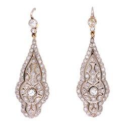 "Closeup photo of Platinum on 18K Edwardian 1.20tcw Diamond Drop Earrings, 2"""