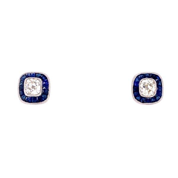 Closeup photo of Platinum .70tcw Cushion Diamond & 1.10tcw Sapphire Halo Stud Earrings