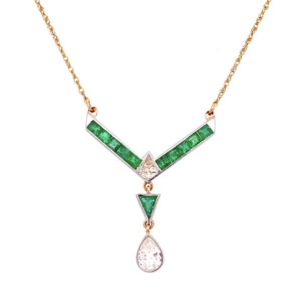 "Closeup photo of Platinum & 18K YG .85tcw Diamond & 1.50tcw Emerald Drop Necklace, 19"""