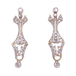 "Closeup photo of Platinum Art Deco 1.50tcw Diamond Earrings, 1.5"" Tall"