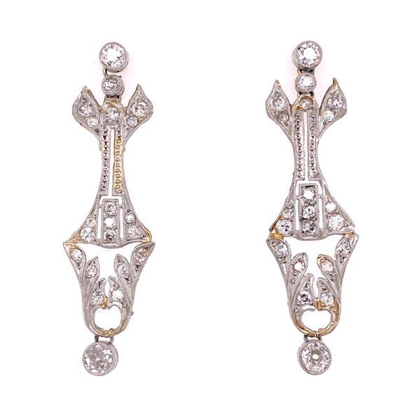 "Closeup photo of Platinum Art Deco 1.50tcw Diamond Earrings, 1.5"" Tall"