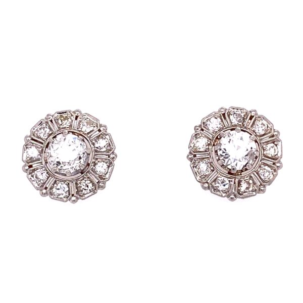 Closeup photo of Platinum 1tcw OEC Diamond Earring Studs with .72tcw diamonds