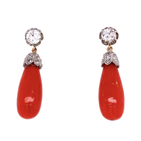 Closeup photo of Platinum & 18K YG 1.50tcw Diamond & Coral Briolette Earrings, 1.5""