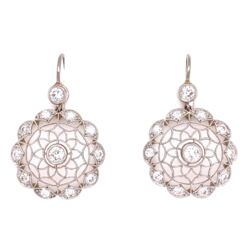 "Closeup photo of Platinum  & 18K YG 1.32tcw Diamond Open Filigree Earrings, 1.25"" Tall"