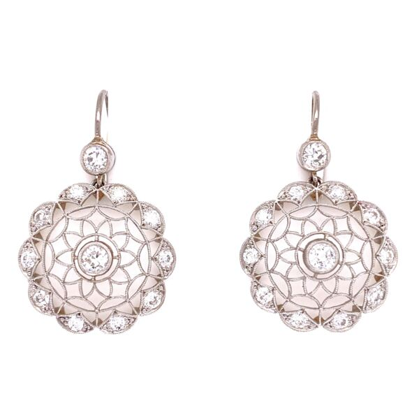"Closeup photo of Platinum  & 18K YG 1.32tcw Diamond Open Filigree Earrings, 1.25"" Tall"