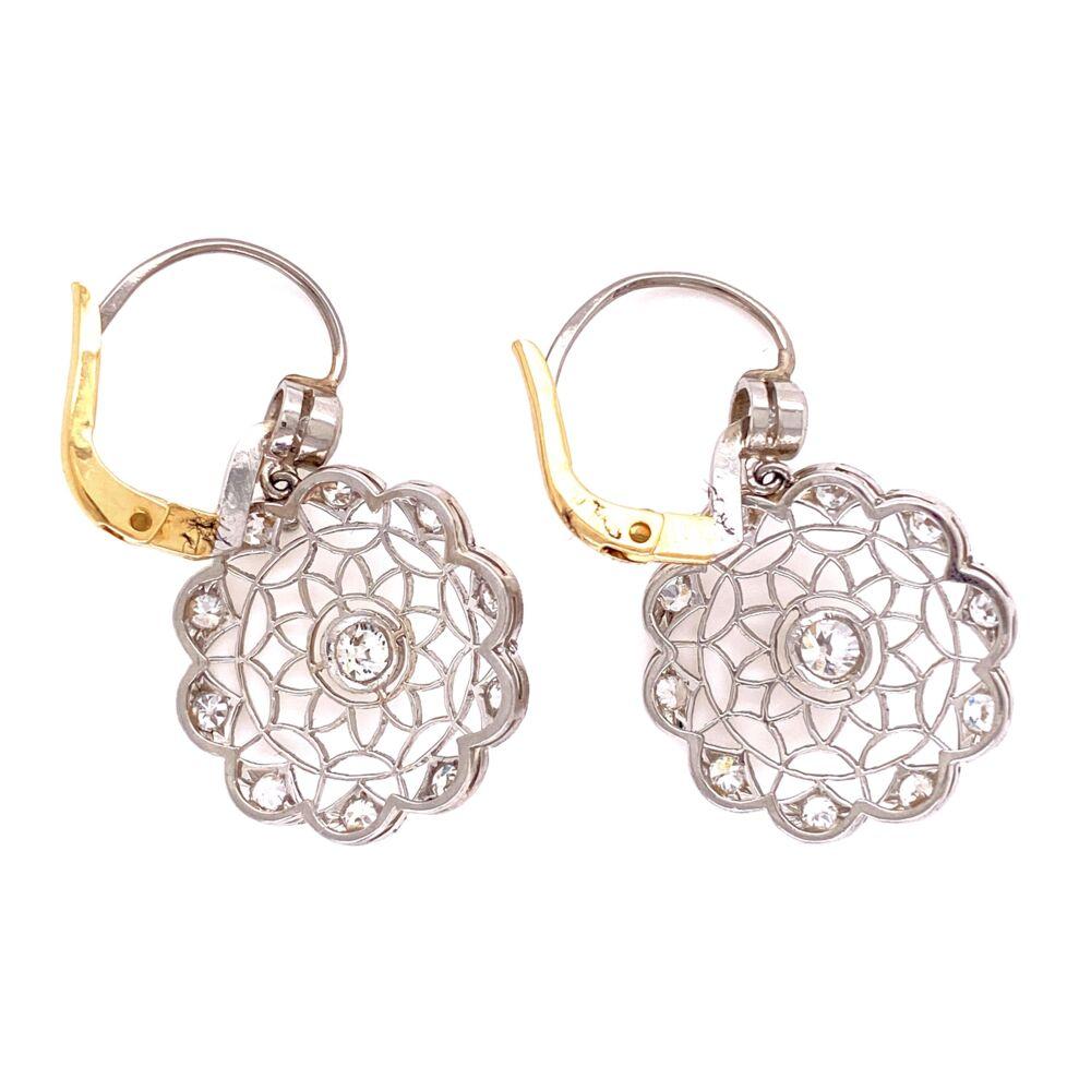 "Image 2 for Platinum  & 18K YG 1.32tcw Diamond Open Filigree Earrings, 1.25"" Tall"