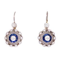 Closeup photo of Platinum & 18K YG 1.14tcw Diamond & .43tcw Sapphire Earrings