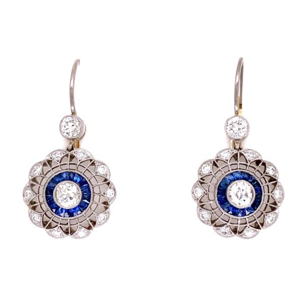 Closeup photo of Platinum & 18K YG 1.14tcw Diamond & .43tcw Sapphire Earrings