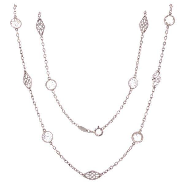 "Closeup photo of Platinum Diamonds by the Yard Chain 8 Diamonds 4.42tcw, 20"""