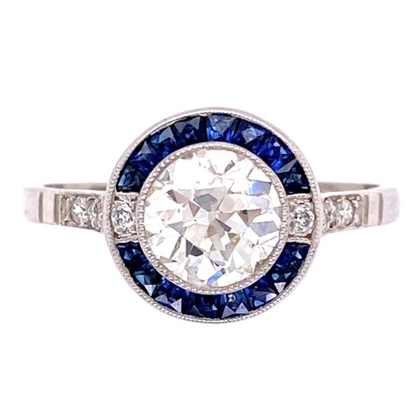 Closeup photo of Platinum 1.06ct OEC Diamond & .64tcw Sapphire Ring with .16tcw Diamonds, s7.5