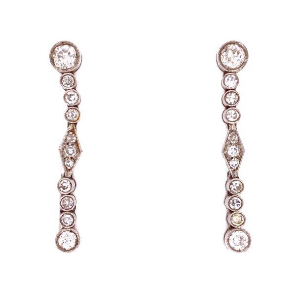 Closeup photo of Platinum Art Deco 1.15tcw Diamond Drop Earrings, 1.25in Long