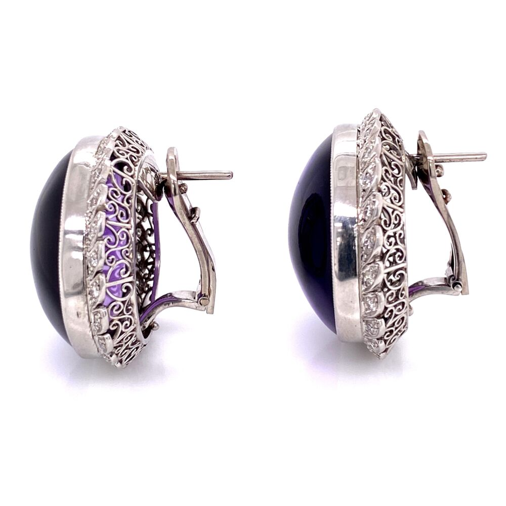 Image 2 for Platinum 50tw Smooth Amethyst & 1.00tcw Diamond Clip Earrings, 32.6g, 1.25in Diameter