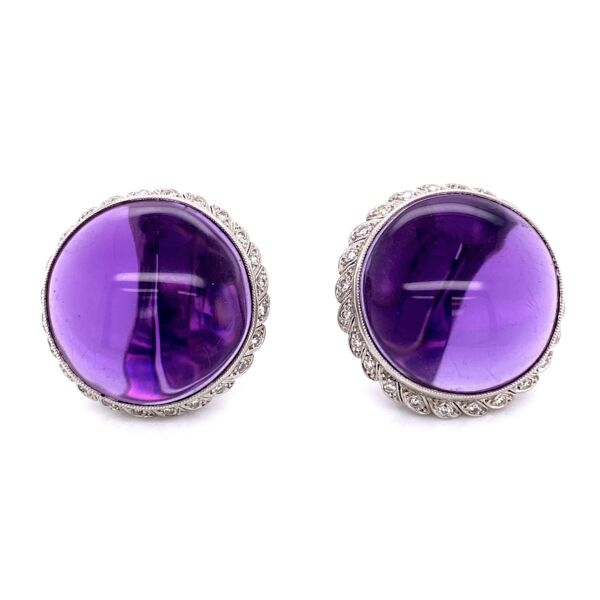 Closeup photo of Platinum 50tw Smooth Amethyst & 1.00tcw Diamond Clip Earrings, 32.6g, 1.25in Diameter