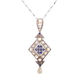 "Closeup photo of Platinum on 18K Edwardian Pearl, Sapphire & 1.10tcw Diamond Drop Necklace, 16"""