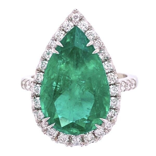 Closeup photo of Platinum 6.96ct Pear Shape Emerald & .85tcw Diamond Ring, s7