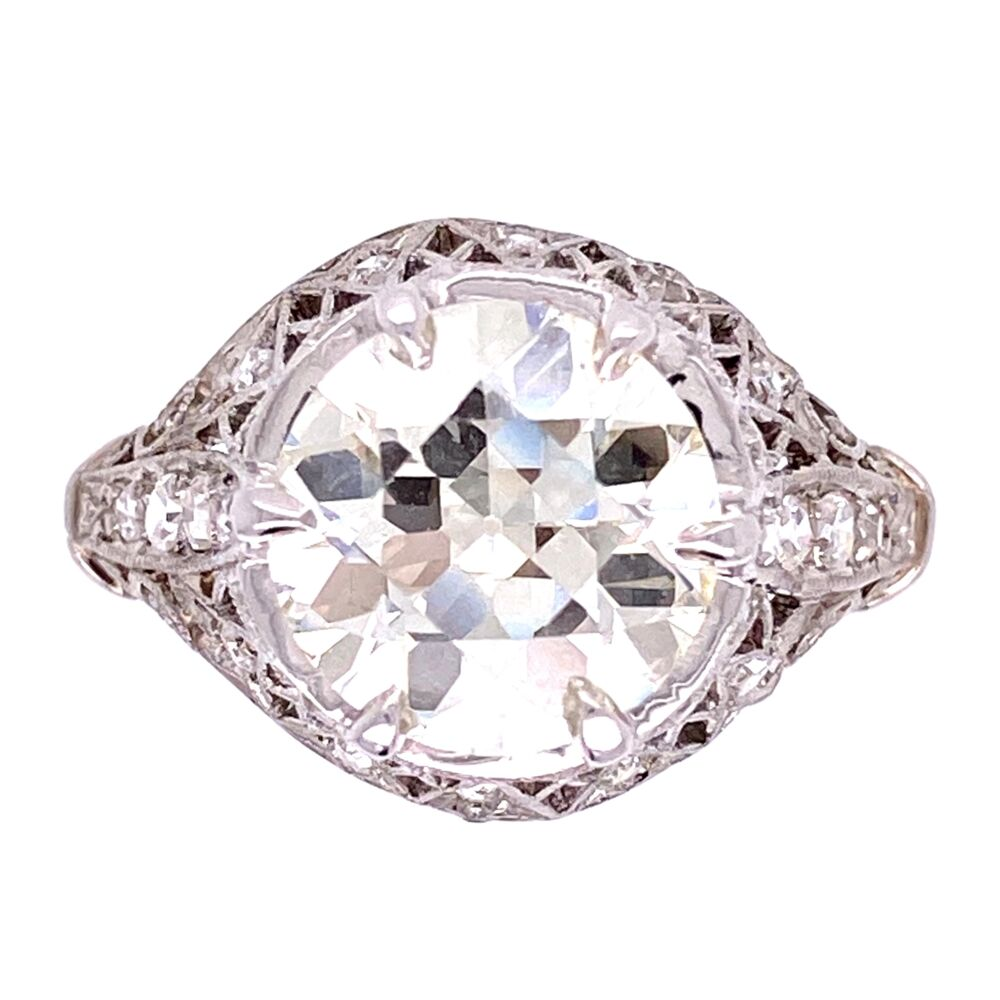 Platinum 2.91ct Old European Cut Diamond Ring GIA, .34tcw diamonds, s6