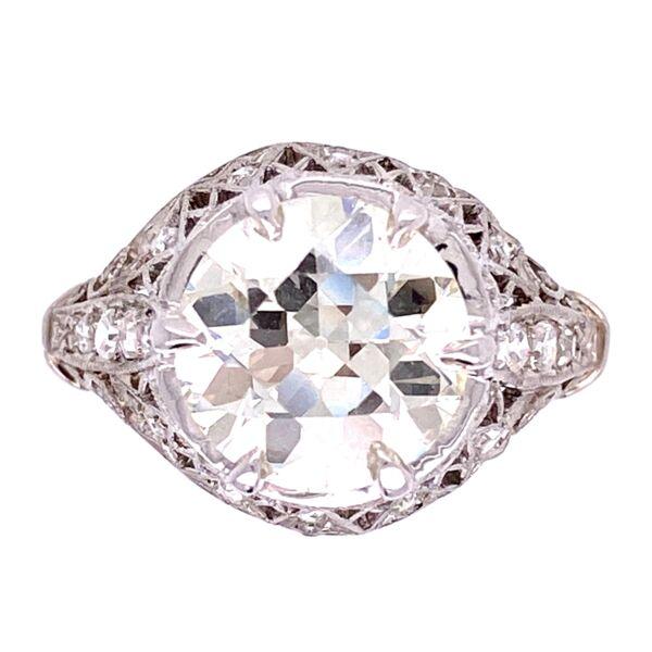 Closeup photo of Platinum 2.90ct Old European Cut Diamond Ring, .34tcw diamonds, s6