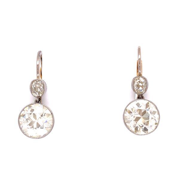 "Closeup photo of Platinum 5.06tcw OEC Diamond Drop Earrings with .60tcw diamond tops, .8"""