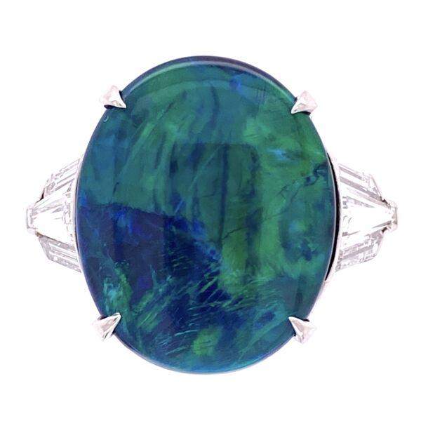 Closeup photo of Platinum 5.80ct Black Opal & 1.00tcw Diamond Ring, s7