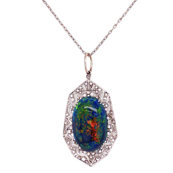 Closeup photo of Platinum Art Deco 9.28ct Black Opal & .90tcw Diamond Pendant Necklace