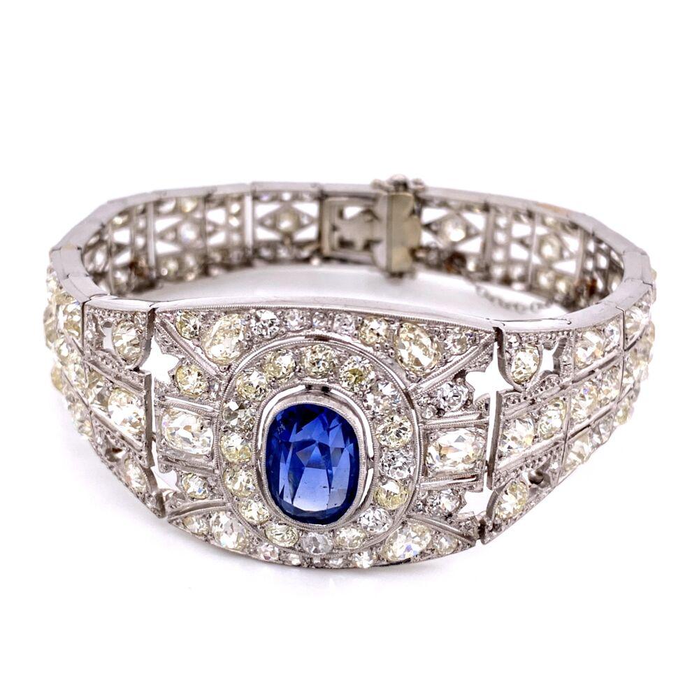 Platinum Art Deco 10ct Sapphire & 25.00tcw Diamond Bracelet 45.9g
