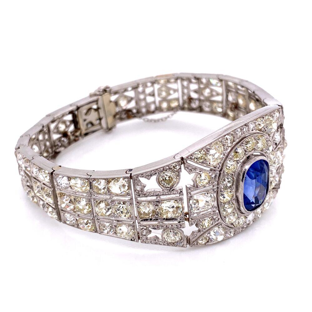 Image 2 for Platinum Art Deco 10ct Sapphire & 25.00tcw Diamond Bracelet 45.9g