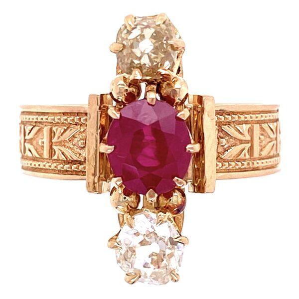 Closeup photo of 18K YG Victorian 1.30ct Burma Ruby & .75tcw Diamond Ring