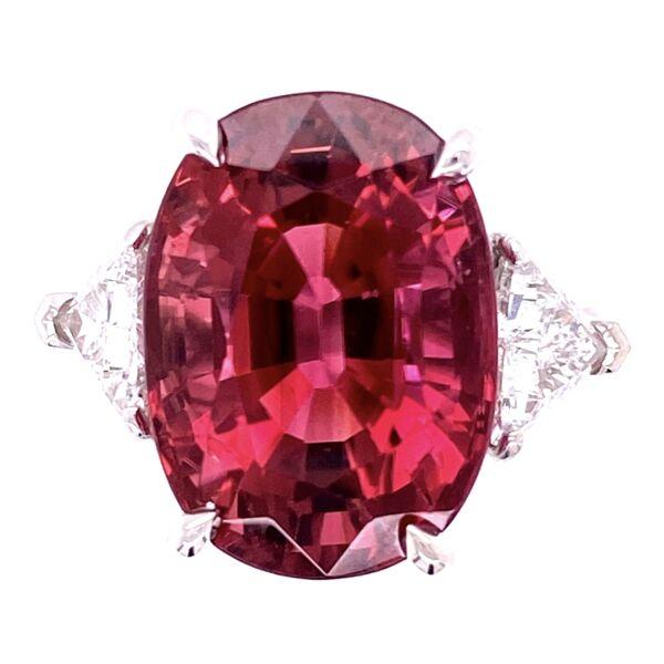 Closeup photo of Platinum 11.31ct Rubellite Tourmaline & .98tcw Diamond Ring, 6.5
