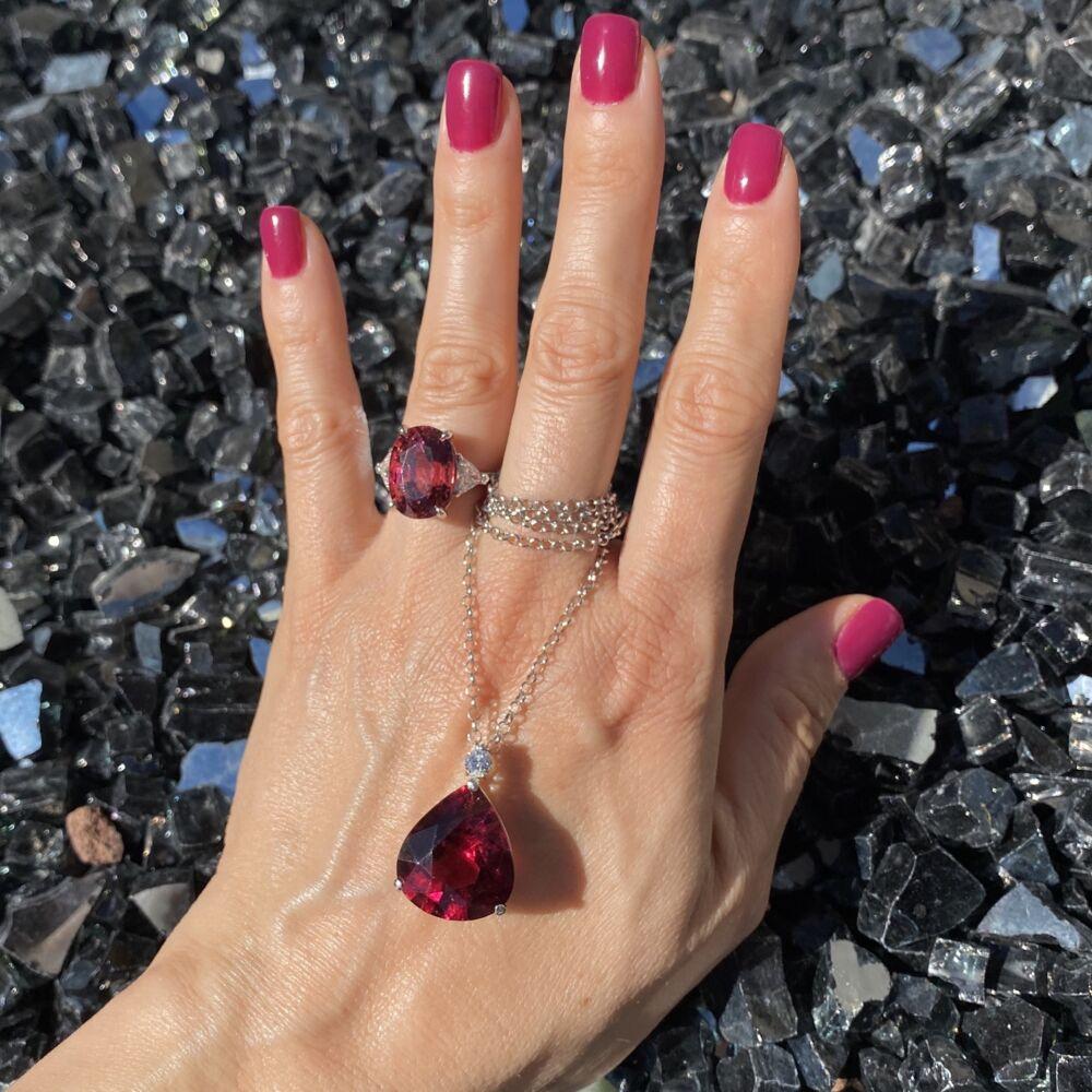 Image 2 for Platinum 11.31ct Rubellite Tourmaline & .98tcw Diamond Ring, 6.5