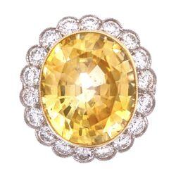 Closeup photo of Platinum Art Deco 14.38ct Oval Yellow Sapphire GIA & 2.40tcw Diamond Ring, s6.5