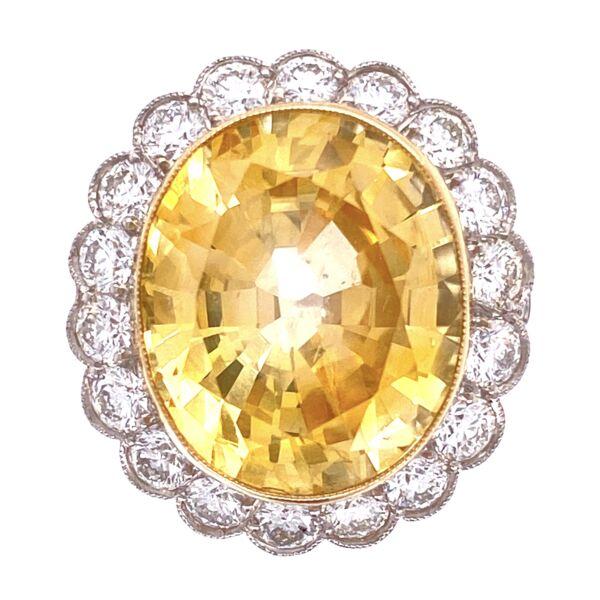 Closeup photo of Platinum Art Deco 14.39ct Oval Yellow Sapphire GIA & 2.40tcw Diamond Ring, s6.5