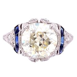 Closeup photo of Platinum 2.55ct OEC Diamond Ring with .40tcw Sapphires & .18tcw Diamonds, s6
