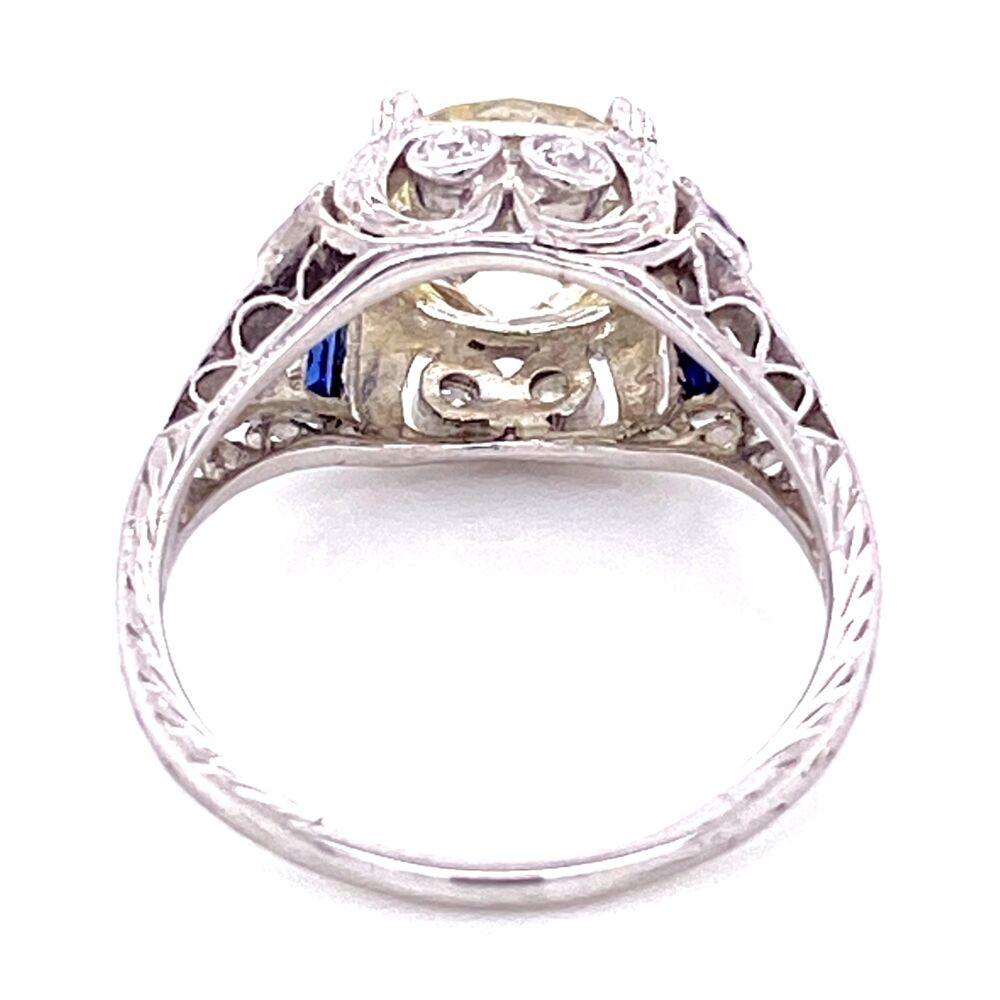 Platinum 2.55ct OEC Diamond Ring with .40tcw Sapphires & .18tcw Diamonds, s6