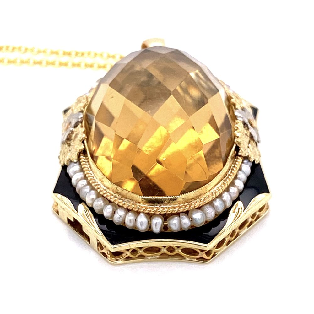 """Image 2 for 14K YG Victorian 40ct Citrine, Seed Pearl & Enamel Pendant 16"""""""